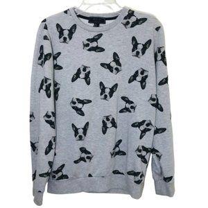 21 Men Dog Pug Face Sweater Crewneck Gray S